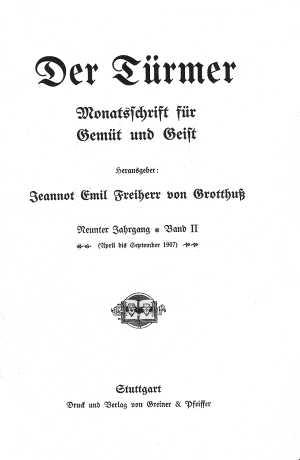 Bild: Der Türmer, Titelblatt