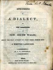 Titelblatt: Specimens of a dialect of the Aborigines of New South Wales